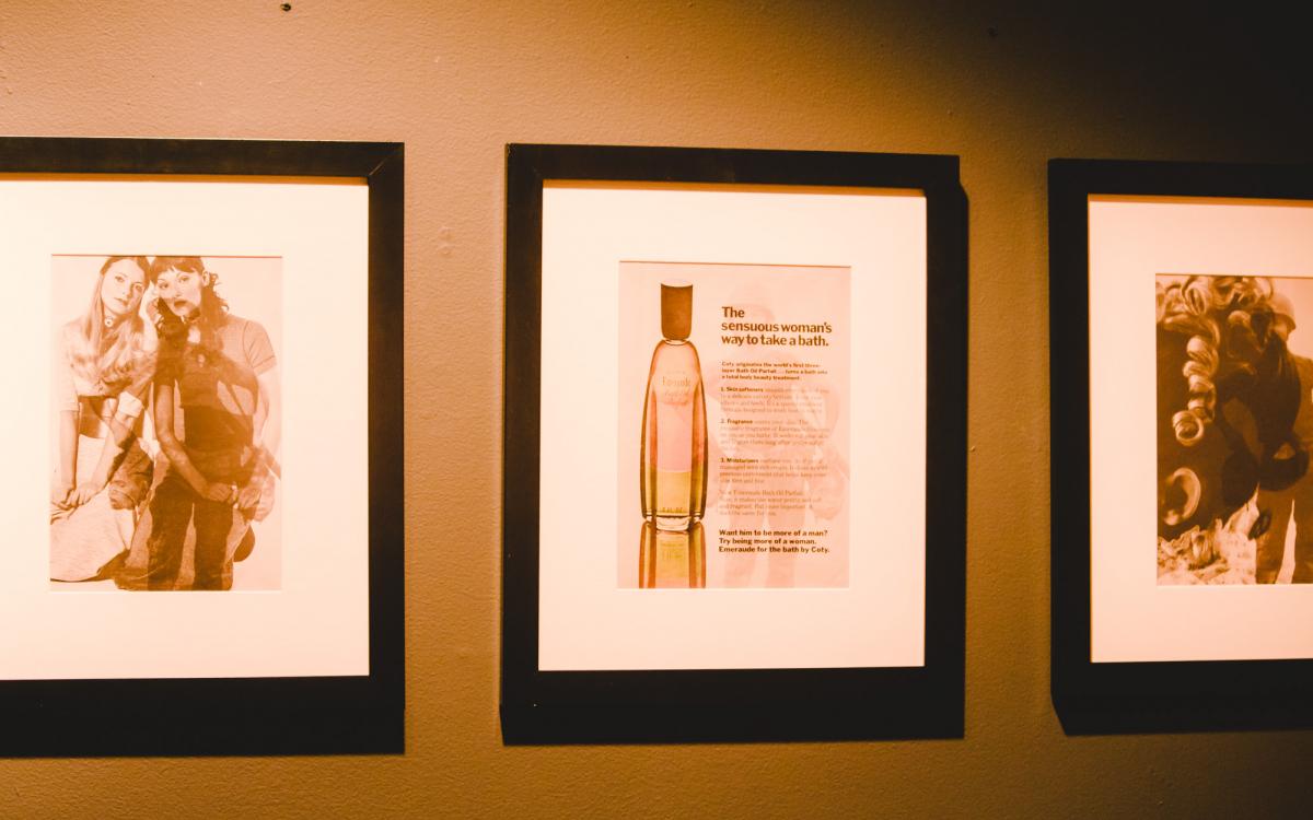 "Robert Heinecken: He/She from the portfolio ""WestCoastNow"", 1979, Periodical #5 (Hesse on Peace), Periodical #5 (Emeraude Perfume), *Periodical #5 (Beauty Memo), 1969"