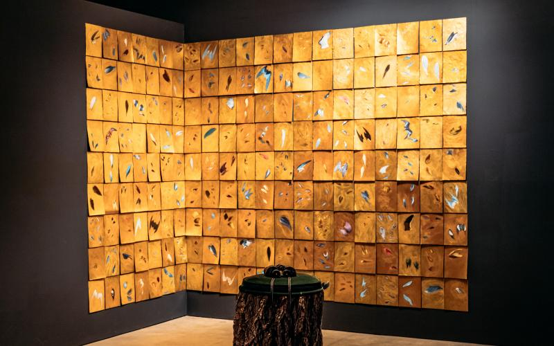 Lynn Aldrich / Flying Lessons: The Birds of America (1993) / found book pages with gold leaf / dimensions variable
