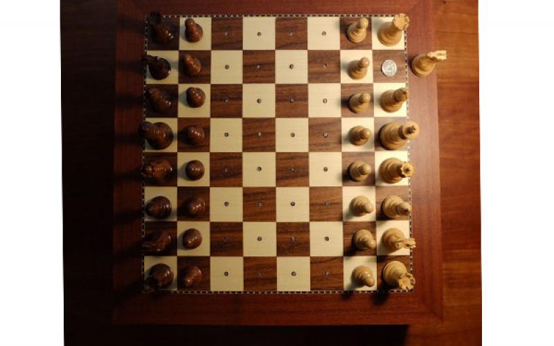 John Cage / Reunion Chessboard, 1968-2017 / modified chessboard, electronics / 19 5/8 x 19 5/8 inches / courtesy of the John Cage Trust (NY)