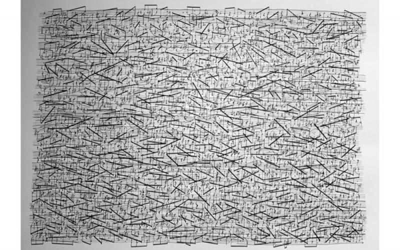 Sean Griffin / Aquarian X: Requiem for Pauline Oliveros 3: Textures of Bilitis, 2016-17 / ink on paper / 18 x 24 inches