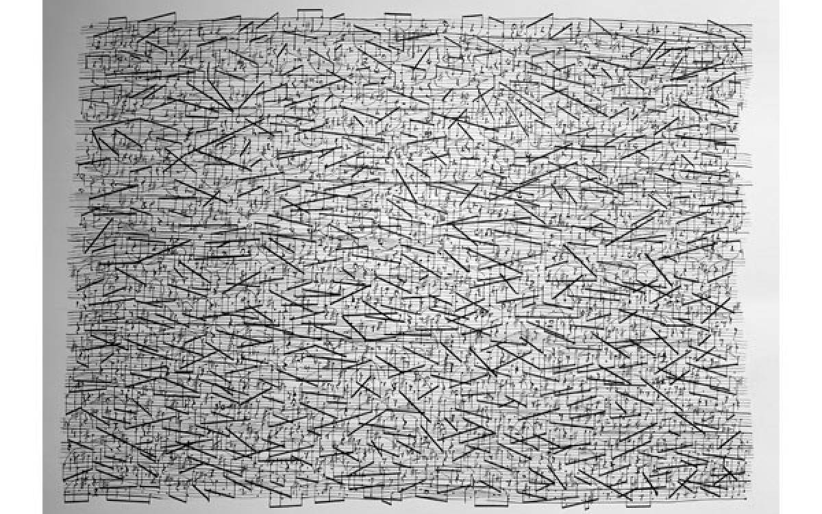Sean Griffin / Aquarian X: Requiem for Pauline Oliveros 3: Textures of Bilitis, 2016-17 / ink on paper / 18 x 24 inches