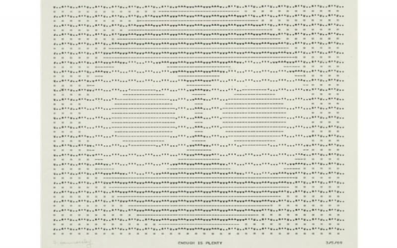 Frederick Hammersley / Enough is Plenty, 1969 / computer generated ink drawing on paper / 15 x 20 inches / Collection of the Carl & Marilynn Thoma Art Foundation (IL / NM)