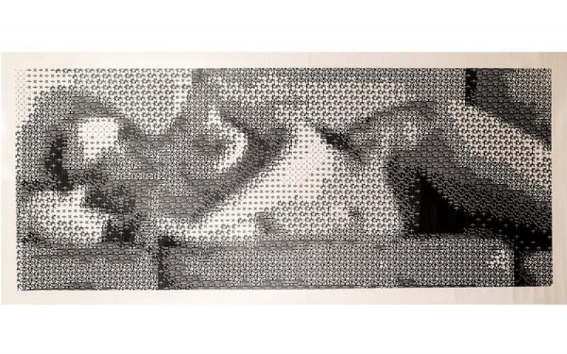 Leon Harmon & Kenneth Knowlton / <<Nude>>, 1966 / laser print on paper mounted to canvas / 19 1/2 x 47 1/2 inches / Courtesy of the Anne and Michael Spalter Digital Art Collection (RI)
