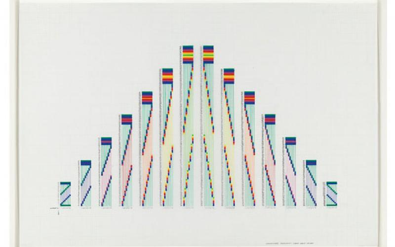 Channa Horwitz / Sonakinatography Comp #17, 1987-2004 / plaka on mylar / 24 x 35 inches