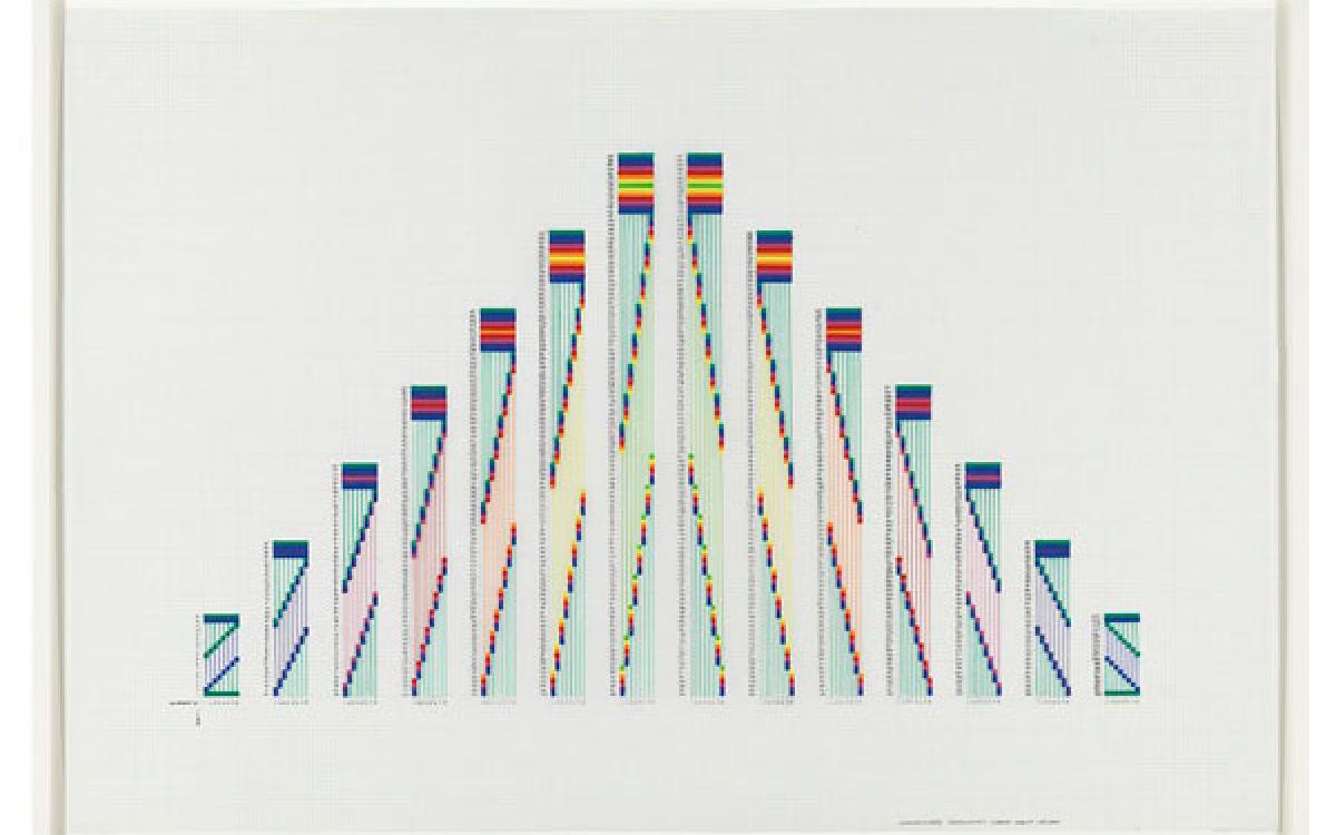 Channa Horwitz / Sonakinatography Comp #17, 1987-2004 / plaka on mylar / 24 x 35 inches
