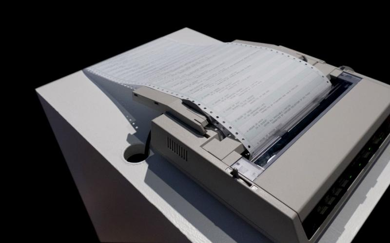 Alison Knowles / A House of Dust, 1967 / dot-matrix printer, continuous print paper, and computer with code / dimensions variable