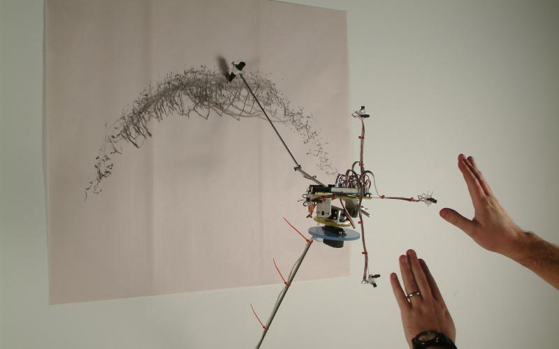 David Bowen / infrared drawing device, 2003 / four infrared sensors, charcoal, aluminum, wire, plastic, electronics / dimensions variable