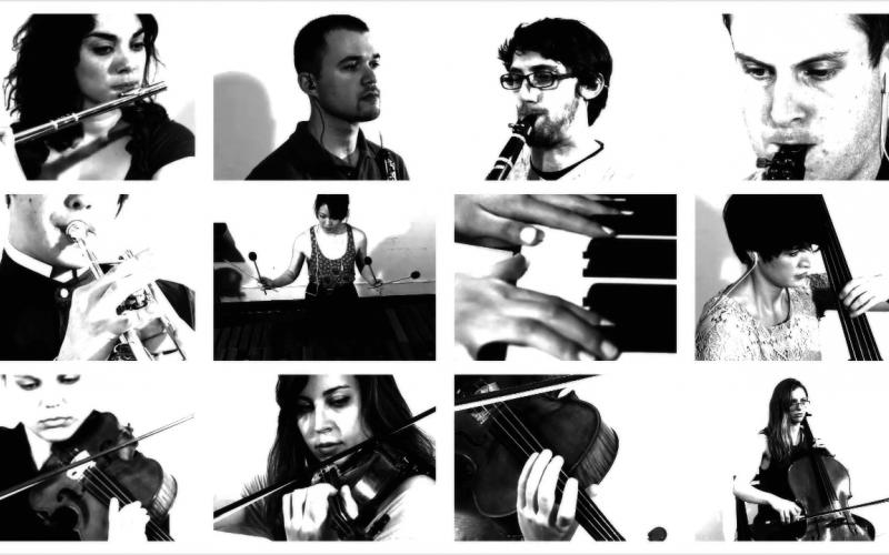 """Vertical Music"" (2012), video of twelve musicians filmed at high speed"
